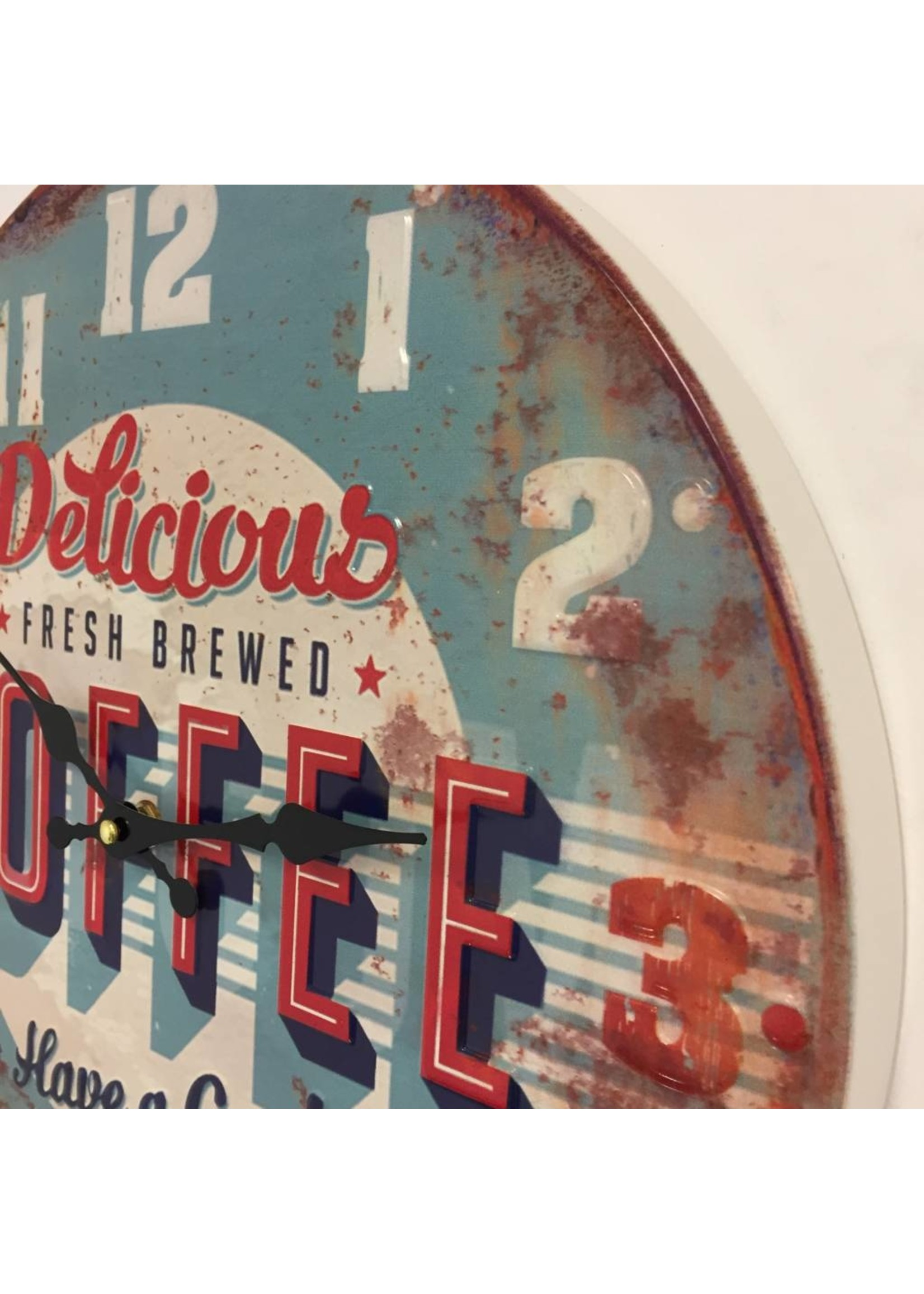 NiceTime Wandklok retro Coffee Blue