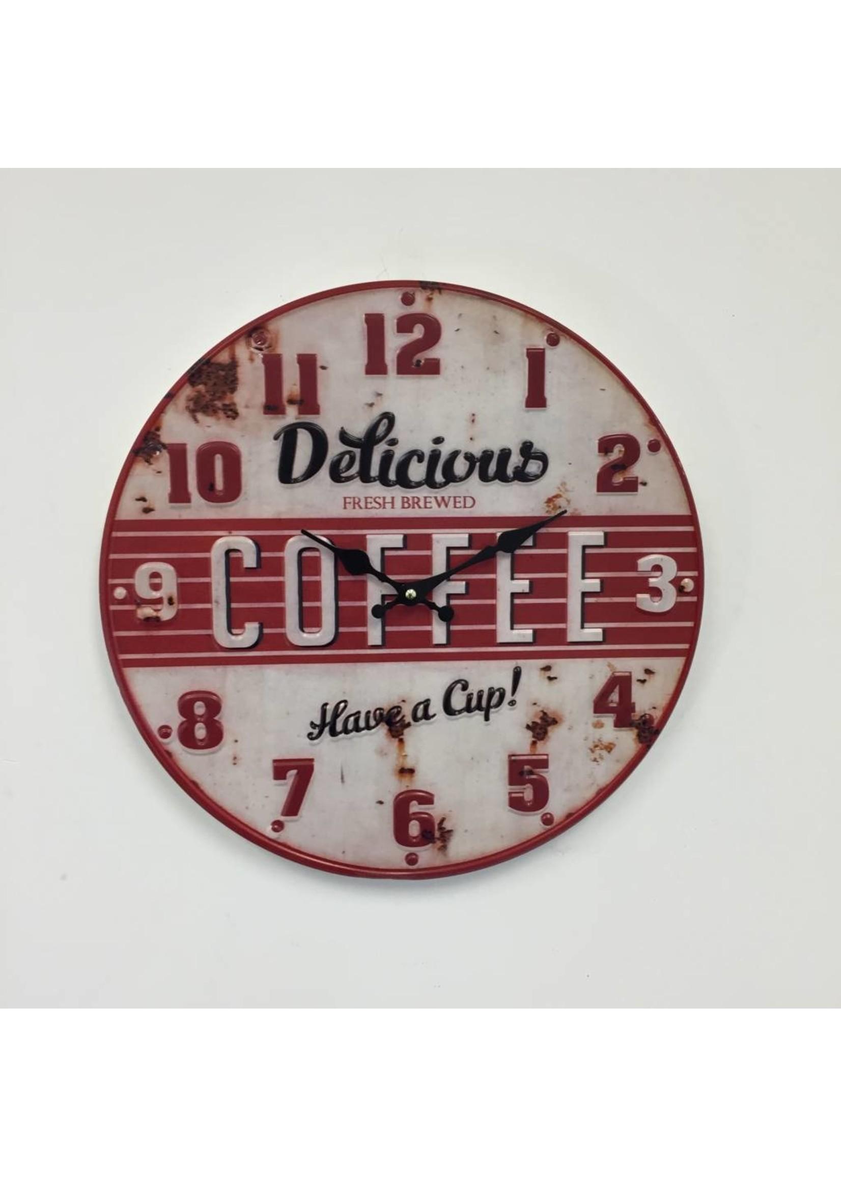 NiceTime Wandklok retro Coffee Red