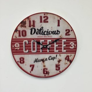 NiceTime Wandklok retro Coffee Red