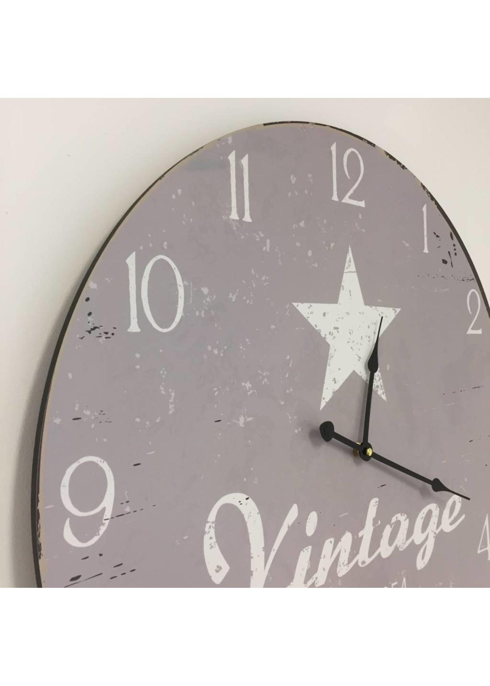NiceTime Wandklok Vintage Silver Star