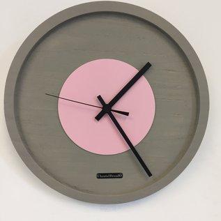 Klokkendiscounter Wanduhr Quinten PINK Modern Design