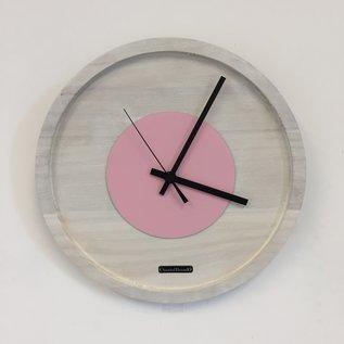 Klokkendiscounter Wanduhr Quinten White & Pink