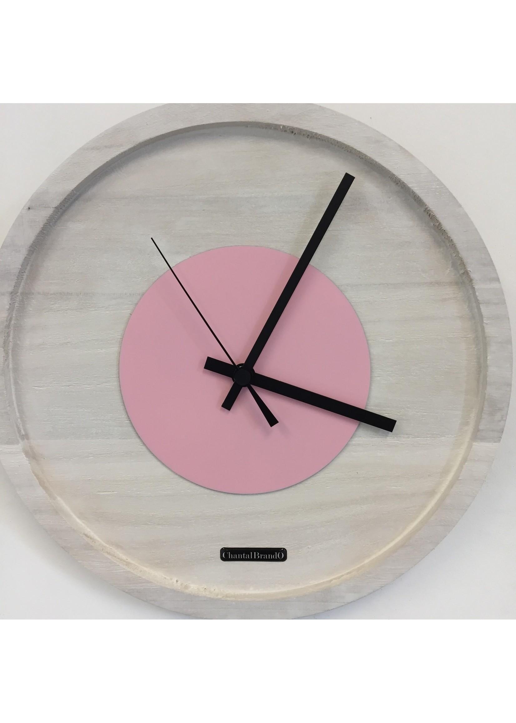 Klokkendiscounter Wandklok Quinten White & Pink