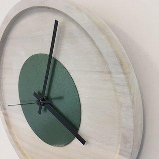 Klokkendiscounter Wanduhr Quinten White & Green Modern Design