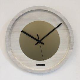 Klokkendiscounter Wanduhr Quinten weisse  & Gold Modernes Dutch Design