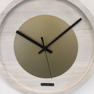 Klokkendiscounter Wandklok Quinten White & Gold Modern Dutch Design