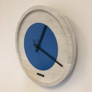 Klokkendiscounter Wanduhr Quinten White & Blue Modern Dutch Design
