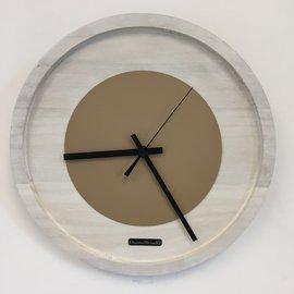 Klokkendiscounter Wanduhr Quinten White & Beige Moderne Dutch Design