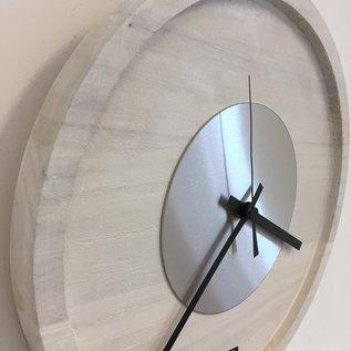 Klokkendiscounter Wandklok Quinten White & Silver Modern Dutch Design