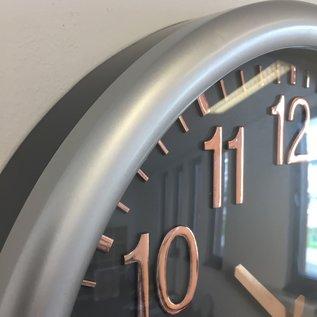 NiceTime Wandklok Silver & Copper Modern Design