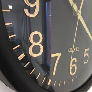 NiceTime Wandklok Black & Gold Modern Design