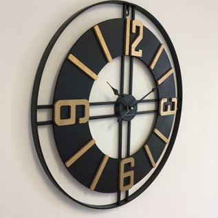 Klokkendiscounter Wandklok Black & Gold Vintage Industrieel