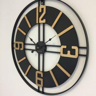 Klokkendiscounter Wanduhr Black & Gold Vintage Industrieel