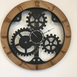 NiceTime Wandklok WOOD & GEAR INDUSTRIAL DESIGN