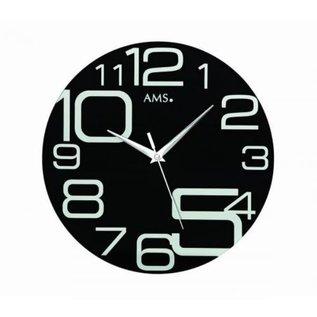 AMS Wanduhr Black Modern Design