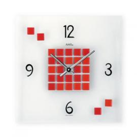 AMS Wandklok Mosaic RED Modern Design