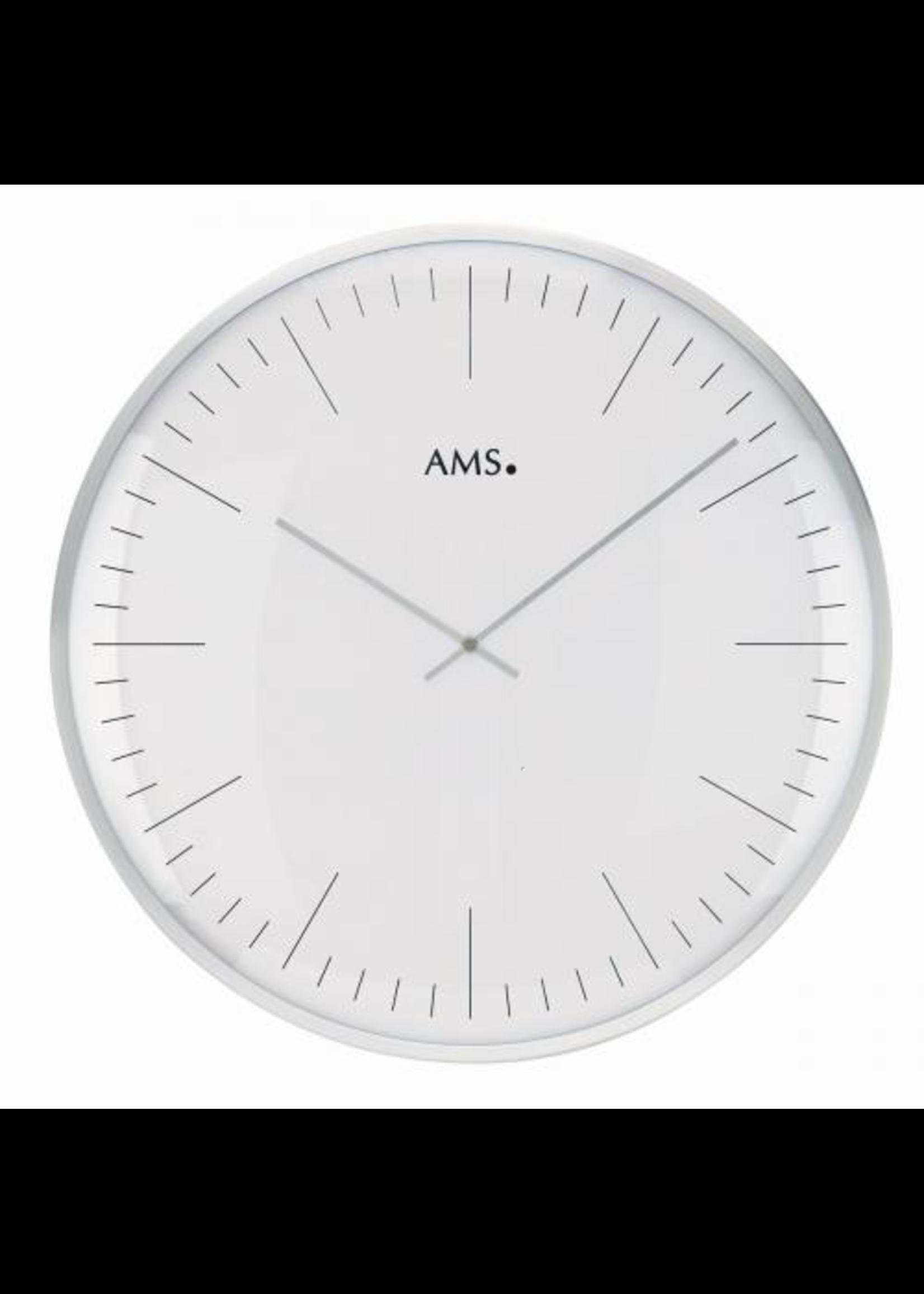 AMS Wandklok Wit en Metaal Modern Design