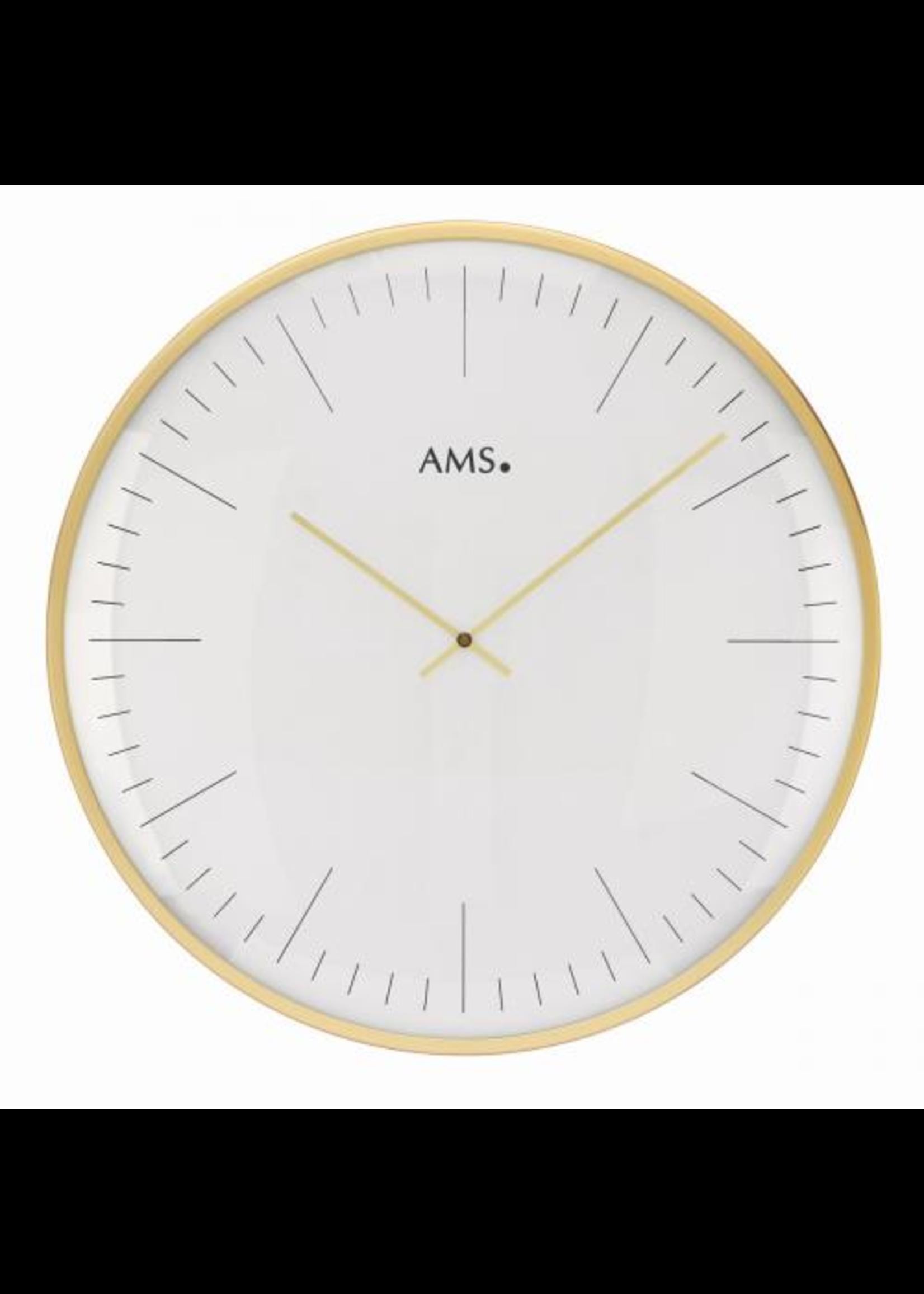 AMS Wandklok Goud en Wit Modern Design