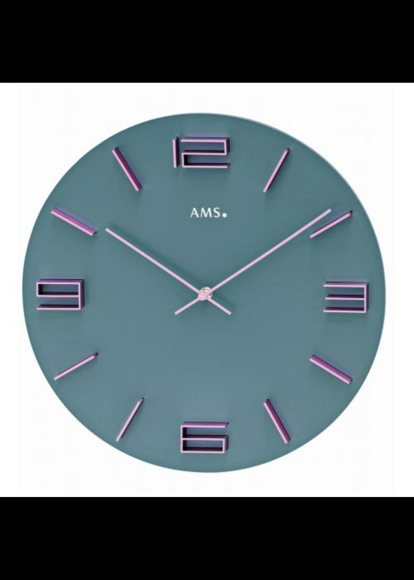 AMS Wandklok Modern Grey Design
