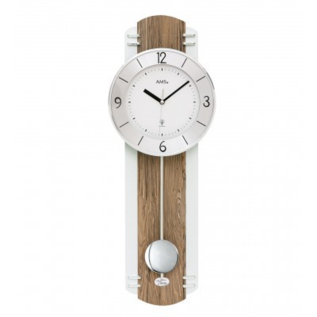 AMS Wandklok met slinger notenhout modern design