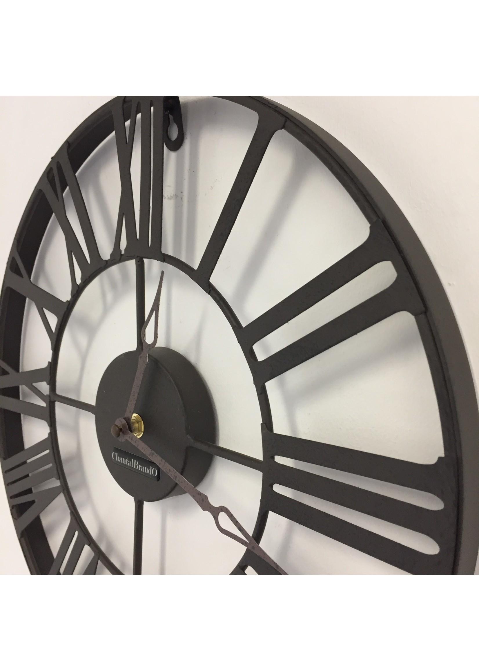 Klokkendiscounter Wandklok metalen wiel retro bruin 37