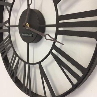 Klokkendiscounter Wanduhr metalen wiel retro bruin 37