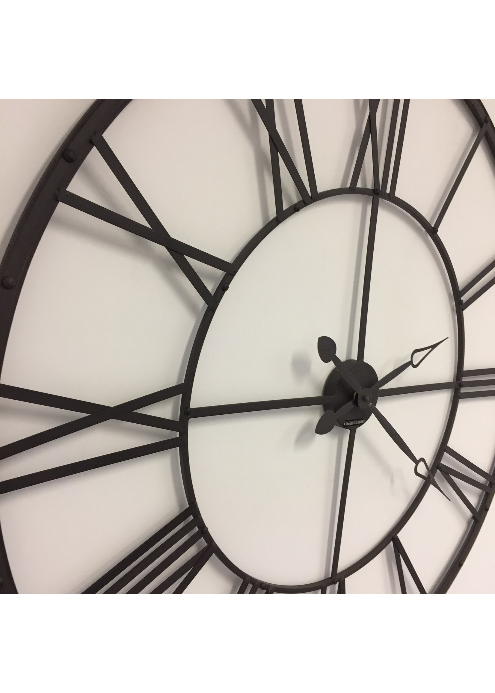 Klokkendiscounter Wandklok XXL Romeins wiel bruin vintage design