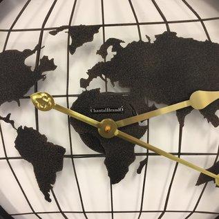 Klokkendiscounter Wandklok Vintage World Black/Brown
