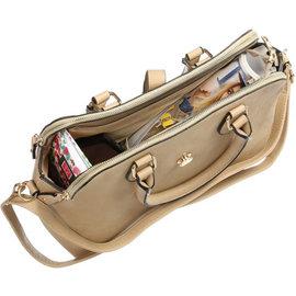 Klokkendiscounter Damen-Handtasche NICE Design Kamel