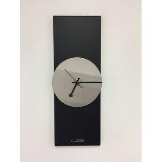Klokkendiscounter Wanduhr Black Line Silver Modern Design Edelstahl