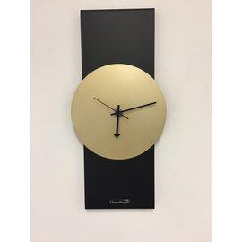 Klokkendiscounter Wanduhr Blackline & Gold Modernes Design Edelstahl