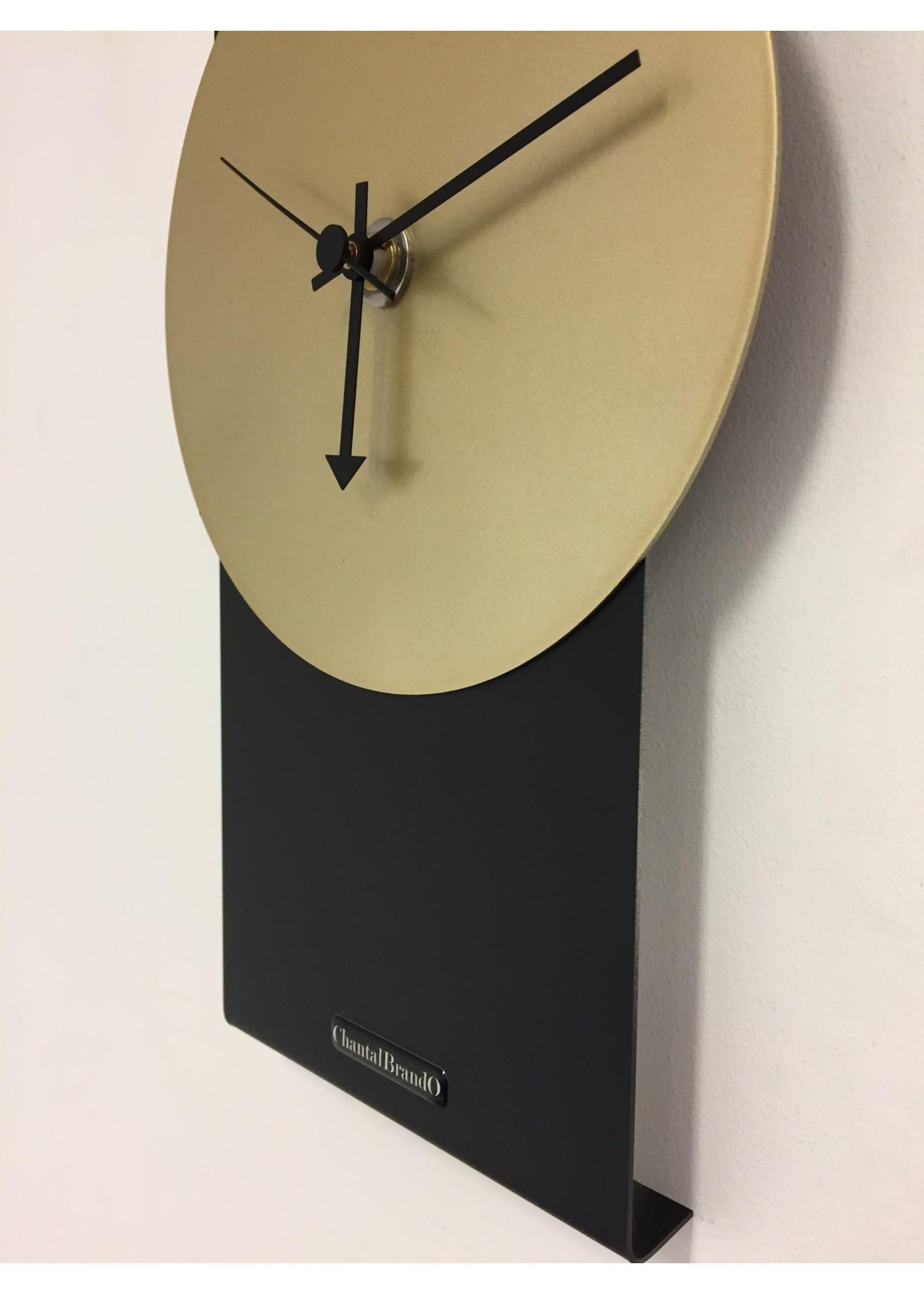 Klokkendiscounter Wandklok Black Line & Gold Modern Design RVS