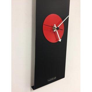 Klokkendiscounter Wanduhr Black-Line & RED Modern Design Edelstahl