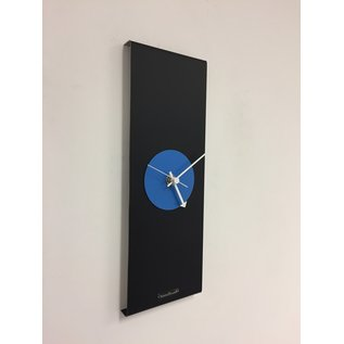 ChantalBrandO Wandklok Black-Line & BLUE Modern Design RVS