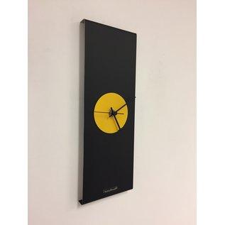 Klokkendiscounter Wandklok Black-Line & Yellow Modern Design RVS