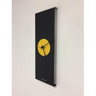 Klokkendiscounter Wanduhr Black-Line & Yellow Modern Design Edelstahl