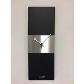Klokkendiscounter Wanduhr-Line Black & Silver Stripe Modernes Design Edelstahl