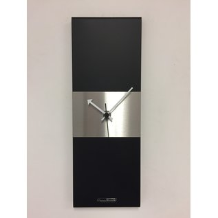 Klokkendiscounter Wandklok Black-Line & Silver Stripe Modern Design RVS