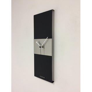 Klokkendiscounter Wanduhr Black-Line & Silver Stripe Modern Design Edelstahl
