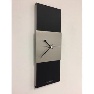 Klokkendiscounter Wandklok Black-Line Silver Square White Pointer Modern Design