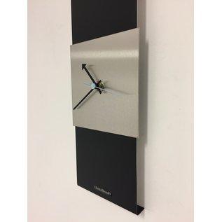 Klokkendiscounter Wandklok Black-Line Silver square Blue Pointer Modern Design