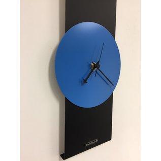 Klokkendiscounter Wanduhr Black-Line & Blue Modern Design Edelstahl