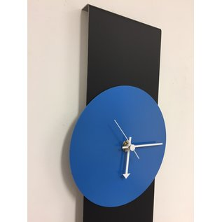 Klokkendiscounter Wanduhr Black-Line & BLUE Modern Design