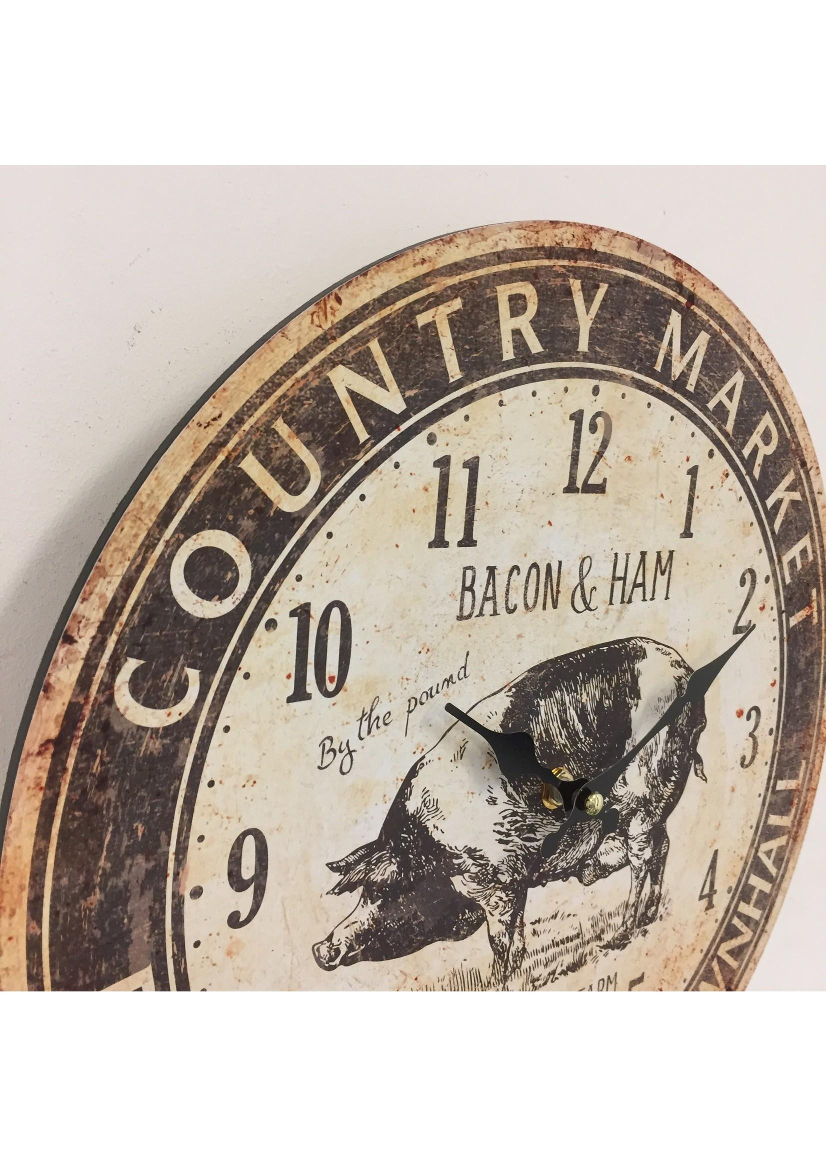 Wandklok Bacon & Ham Retro Vintage Design