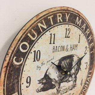 Saramax Wandklok Bacon & Ham Retro Vintage Design