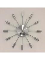 Klokkendiscounter Wanduhr Silber SUN modernes Design