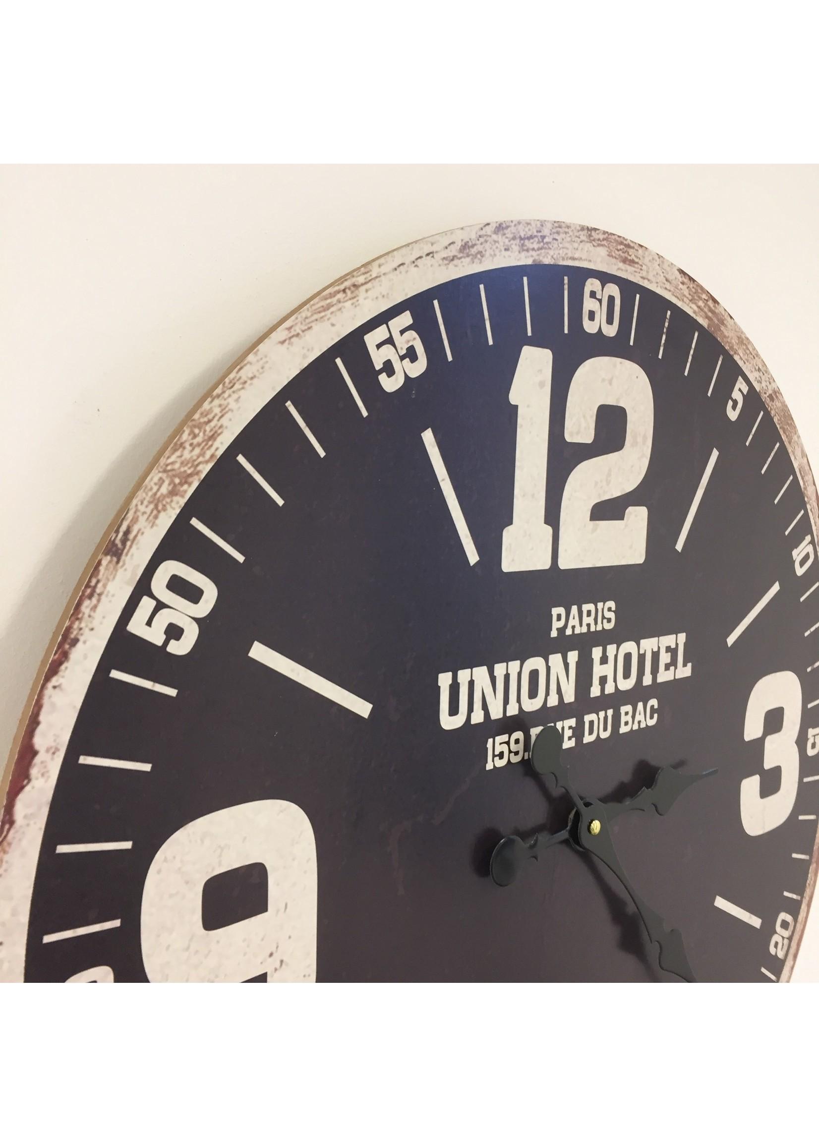 Wandklok UNION HOTEL ZWART RETRO INDUSTRIEEL DESIGN