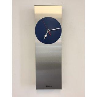 Klokkendiscounter Wandklok Manhattan Blue & RED Pointer Modern Dutch Design