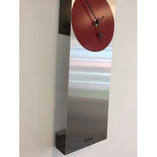 Klokkendiscounter Wandklok Manhattan RED & BLACK Modern Dutch Design