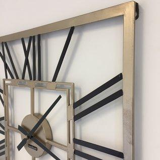 Klokkendiscounter Wanduhr SQUARE BLACK & GOLD modernes Industriedesign